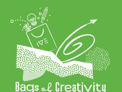 Bags of Creativity logo white on a green background